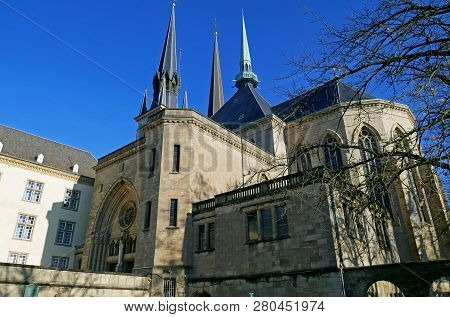 Beautiful View Of Notre Dame Cathedral Of Luxembourg.