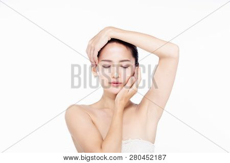 Asia Beautiful Young Woman In White Dress With Clean Fresh Skin Touch Own Face And Net Laser Protect