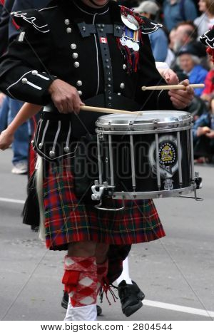 Kilted Drummer In Marching Band