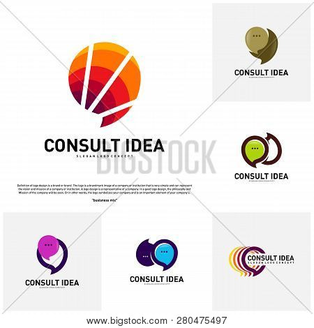 Set Of Modern Business Consulting Agency Logo Design Template. Elegant Simple Consult Logo Concept