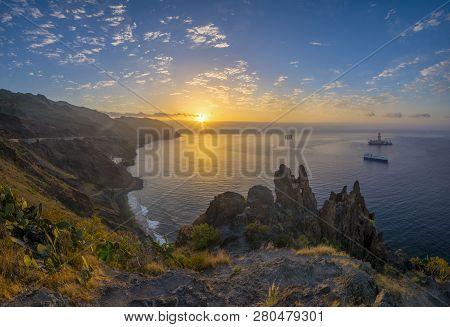 Sunrise Over The Ocean.anaga Mountain . Tenerife, Canary Islands.