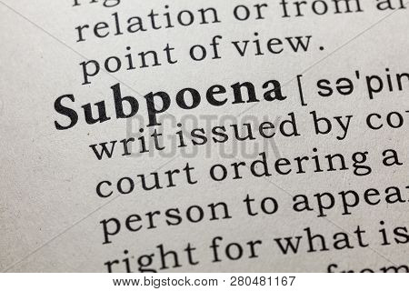 Fake Dictionary, Dictionary Definition Of The Word Subpoena. Including Key Descriptive Words.