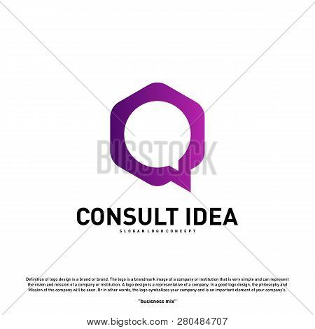 Modern Hexagon Business Consulting Agency Logo Design Template. Simple Digital Consult Logo Concept