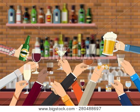 Hands Group Holding Glasses With Various Drinks. Drinking Establishment. Interior Of Pub Cafe Or Bar