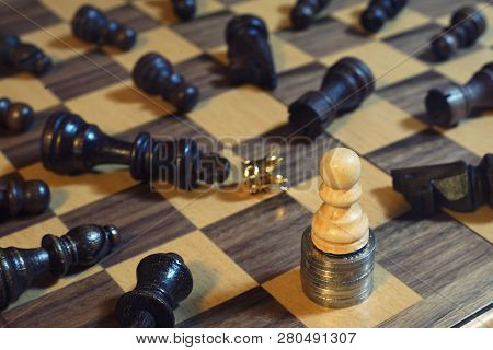 Chess Board Game, Business Competitive Concept, King Encounters Difficult Situation, Copy Space