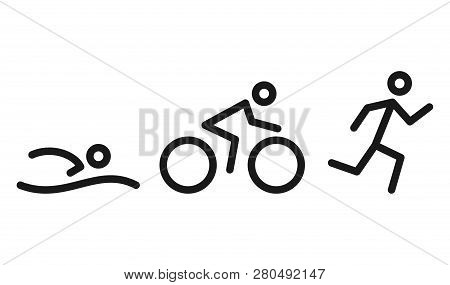 Triathlon Activity Icons - Swimming, Running, Bike. Swimming, Cycling And Outdoor Sports Icons Isola