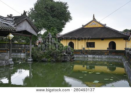 The Truong Du Pavilion And Lake Within The Dien Tho Residence In The Imperial City, Hue, Vietnam
