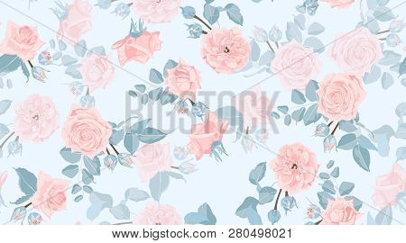 Pastel Floral Pattern, Vintage Pink Roses In Watercolor Style. Wedding Print, Retro Flowers Backgrou