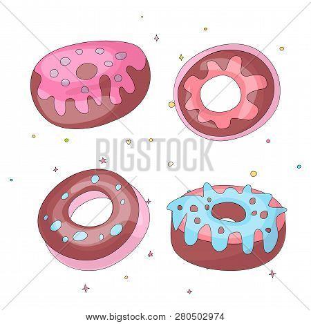 Cute Funny Girl Teenager Colored Icon Set Donuts, Fashion Cute Teen And Princess Icons. Magic Fun Cu