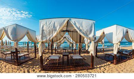 Luxury Beach Tents Canopies On Morning Paradise White Sandy Beach The Maldives Of Salento (pescoluse