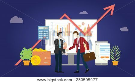 B2b Business To Business Marketing Deal Agreement Between Two Company With Some Graph And Chart Stat