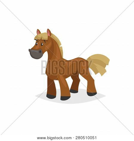 Cartoon Horse Standing. Brown Horse With Yellow Gold Mane. Farm Purebred Animal For Kids Education.