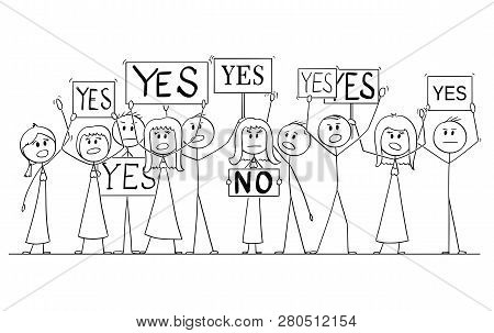 Cartoon Stick Figure Isolated Drawing Or Illustration Of Group Or Crowd Of Protesters Protesting Wit
