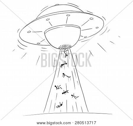 Cartoon Drawing Illustration Of Alien Space Ship Or Ufo Abducting Or Kidnapping People In Ray Of Lig