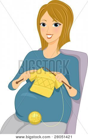 Illustration of a Pregnant Woman Knitting