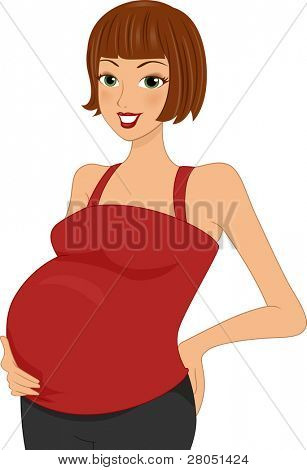 Illustration of a Pregnant Woman Holding Her Belly
