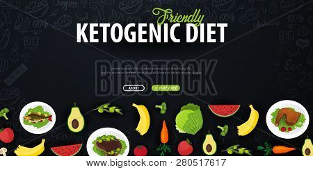 Ketogenic Diet Banner, Healty Keto Food. Low Carbs Ketogenic Diet Food. Vector Illustration