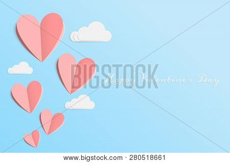 Vector Of Love And Happy Valentine's Day. Origami Design Elements Cut Paper Made Pink Heart Float Up