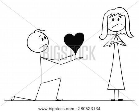 Cartoon stick drawing conceptual illustration of man kneeling and giving big heart to his beloved woman of love, but she rejects his proposal. poster