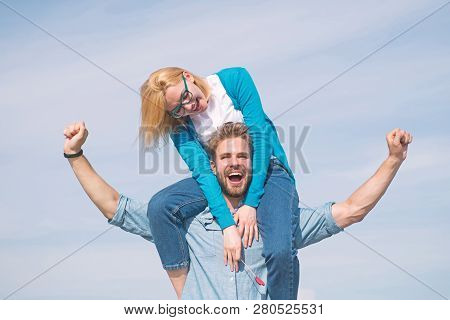 Couple Happy Date Having Fun Together. Lovers Enjoy Date And Feeling Free. Freedom Concept. Couple I