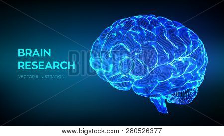 Brain. Human Brain Research. 3d Science And Technology Concept. Neural Network. Iq Testing, Artifici