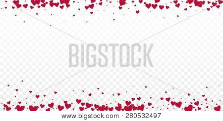 Red Heart Love Confettis. Valentine Day Border Impressive Background. Falling Stitched Paper Hearts