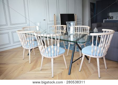 Glass Table Interior Design In Living Room. Glass Table Design For Dining Room.
