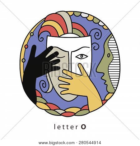 Decorative Initial, Capital Letter D On Mysterious World Of Human Emotions And Psychological Fears.