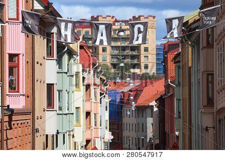 Gothenburg, Sweden - August 26, 2018: Haga District Sign In Gothenburg, Sweden. Gothenburg Is The 2n