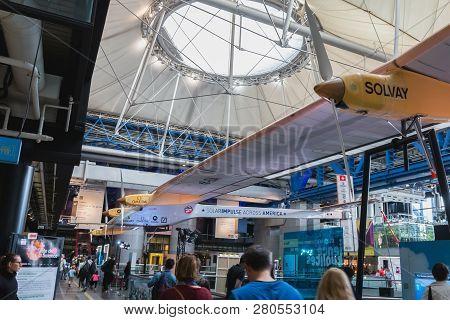 Paris, France - October 6, 2018: Exhibition Of The Famous Solar Impulse Hb-sia Electric Aircraft Dur