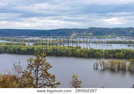 Overlooking Mississippi River From Atop Bluff Of Effigy Mounds National Monument Along Iowa Wisconsi