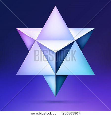 3d Merkaba, Esoteric Crystal, Sacral Geometry Shape, Volume Star On Dark Background, Mesh Form, Abst