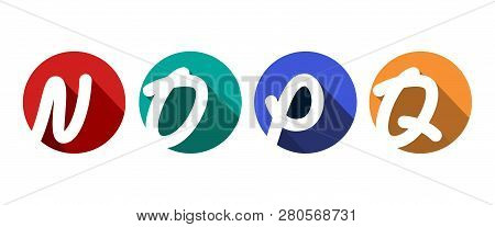 Creative Capital Letters N, O, P, Q Inscribed In A Circle With Falling Shadows. For Your Monogram, L