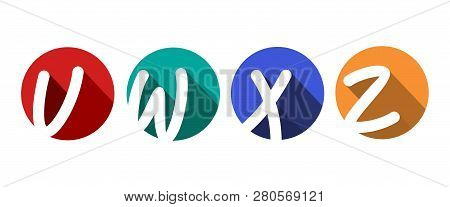 Creative Capital Letters V, W, X, Z Inscribed In A Circle With Falling Shadows. For Your Monogram, L