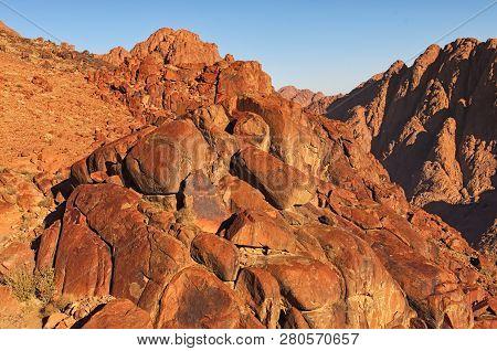 Footpathe to the top of the Sinai Mountain (Mount Horeb, Gabal Musa, Moses Mount) - sacred christian destination. Sinai Peninsula of Egypt. Pilgrimage place and famous touristic destination. poster