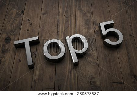 Top 5 - Text on table. 3d rendering