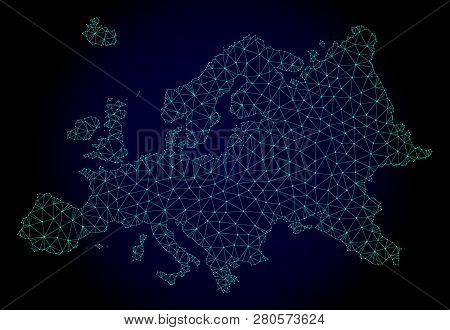 Polygonal Mesh Map Of Europe. Abstract Mesh Lines, Triangles And Points On Dark Background With Map