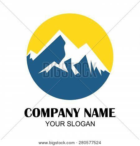 Mountain Sunrise , Mountain Logo, Hills Logo, Mountain Symbol, Mountain Icon, Mountain Logo Templat,
