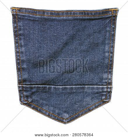 Blue Jeans . Detail Of Vintage Blue Jeans Texture With Pocket.pocket On Jeans  Isolated On White Bac