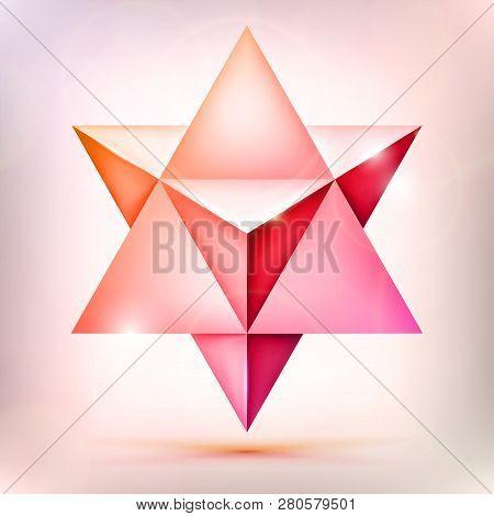 3d Merkaba, Esoteric Crystal, Sacral Geometry Shape, Volume Pink And Orange Star With Light Effect,