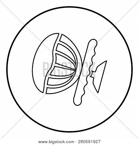 Airbag Sign Steering Wheel With Active Airbag Icon Black Color Outline Vector Illustration Flat Styl