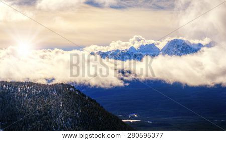 Aerial View Of Sunrise Over Canadian Rockies At Banff National Park