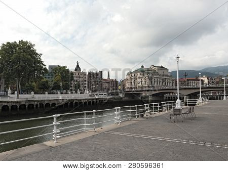 View Of The Estuary Of Bilbao And The Arenal Aridge, Bilbao, Basque Country, Spain