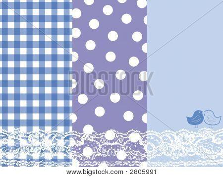Blue Summer Scrapbook Panels And Bird