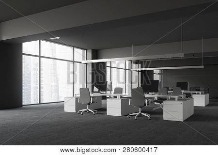 Panoramic Gray Office Corner