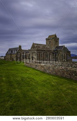 Iona Abbey In Scotland Uk In Vertical Composition
