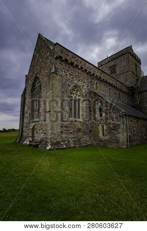 Iona Abbey Exterior View In Vertical Perspective