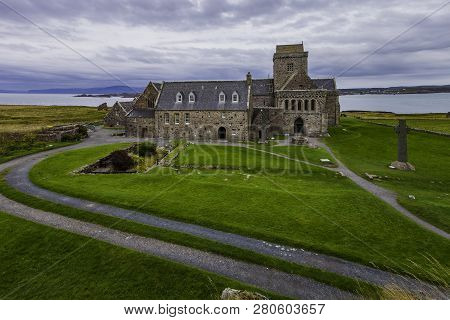 Iona Abbey In Scotland On A Cloudy Day