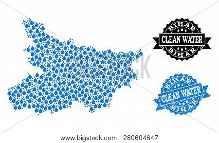 Map Of Bihar State Vector Mosaic And Clean Water Grunge Stamp. Map Of Bihar State Designed With Blue