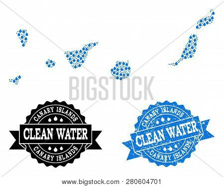 Map Of Canary Islands Vector Mosaic And Clean Water Grunge Stamp. Map Of Canary Islands Created With